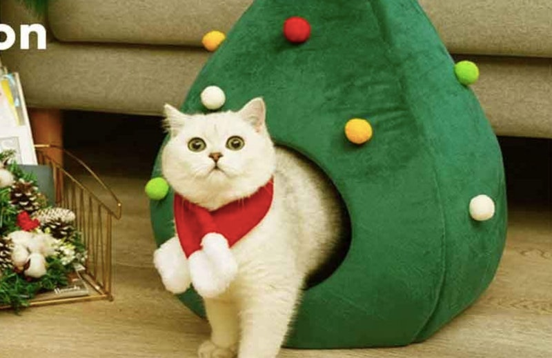 A Christmas Tree Pet House for cats and dogs.