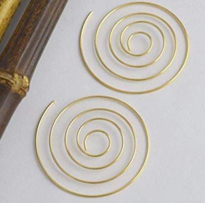 Simple Geometric Gold Spiral Hoop Earrings