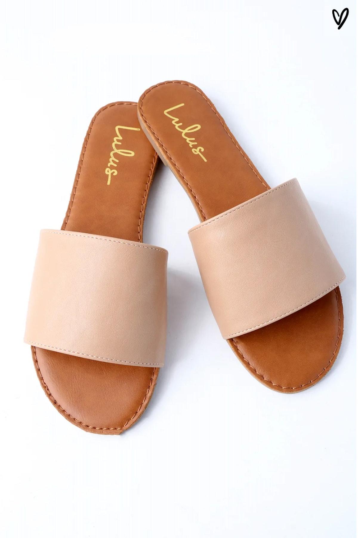 Addison Natural Slide Sandals