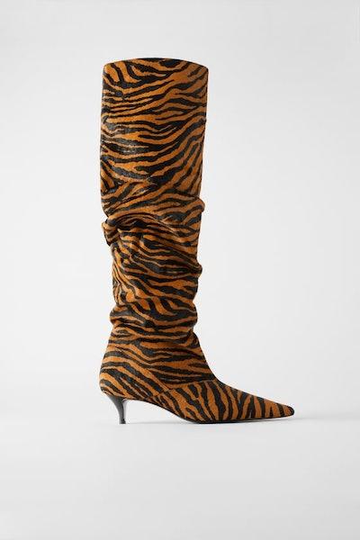 Leather Animal Print Kitten Heel Boots