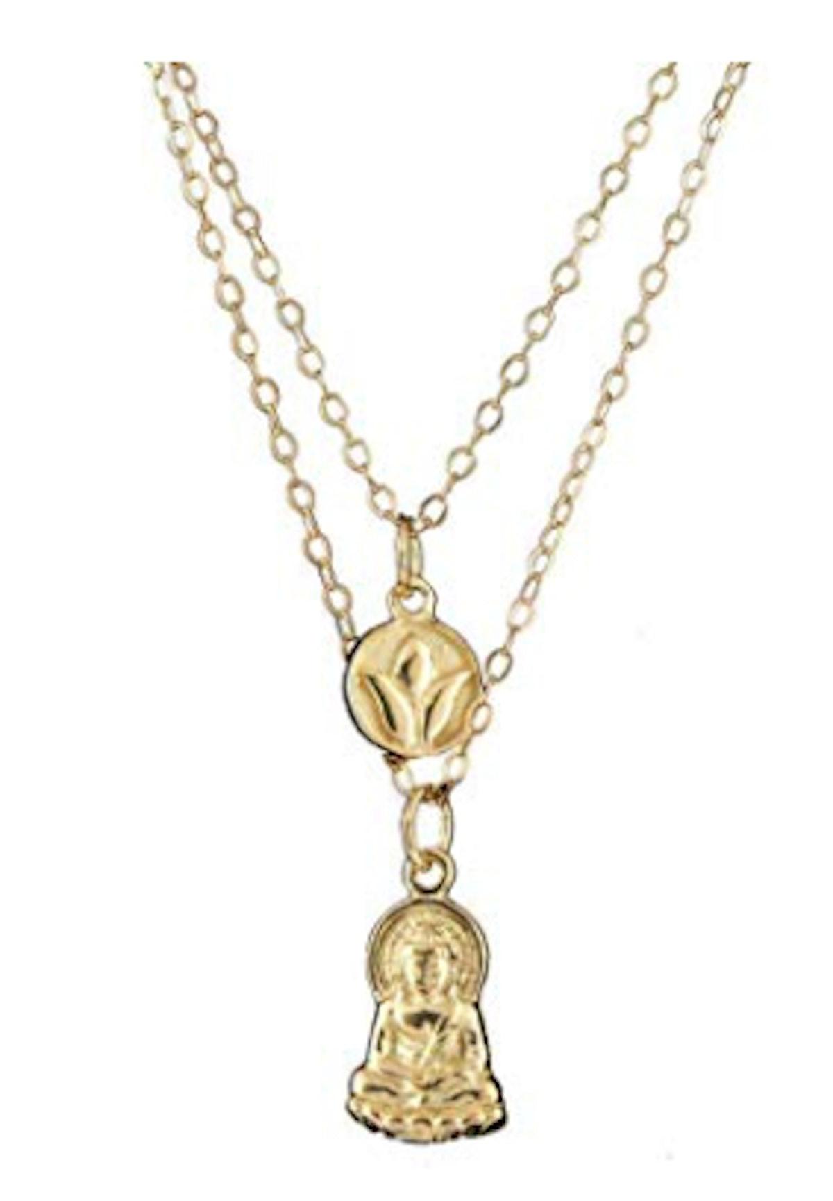 Lotus Bud and Buddha Charm Pendants on Layered 16 and 18 inch chains