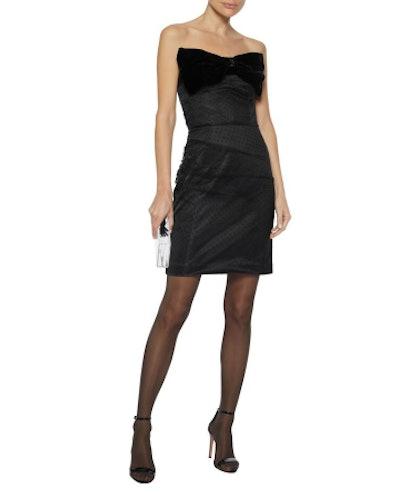 Minnie bow-embellished flocked tulle mini dress