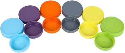 Aozita Colorful BPA-Free Plastic Mason Jar Lids (12-Pack)