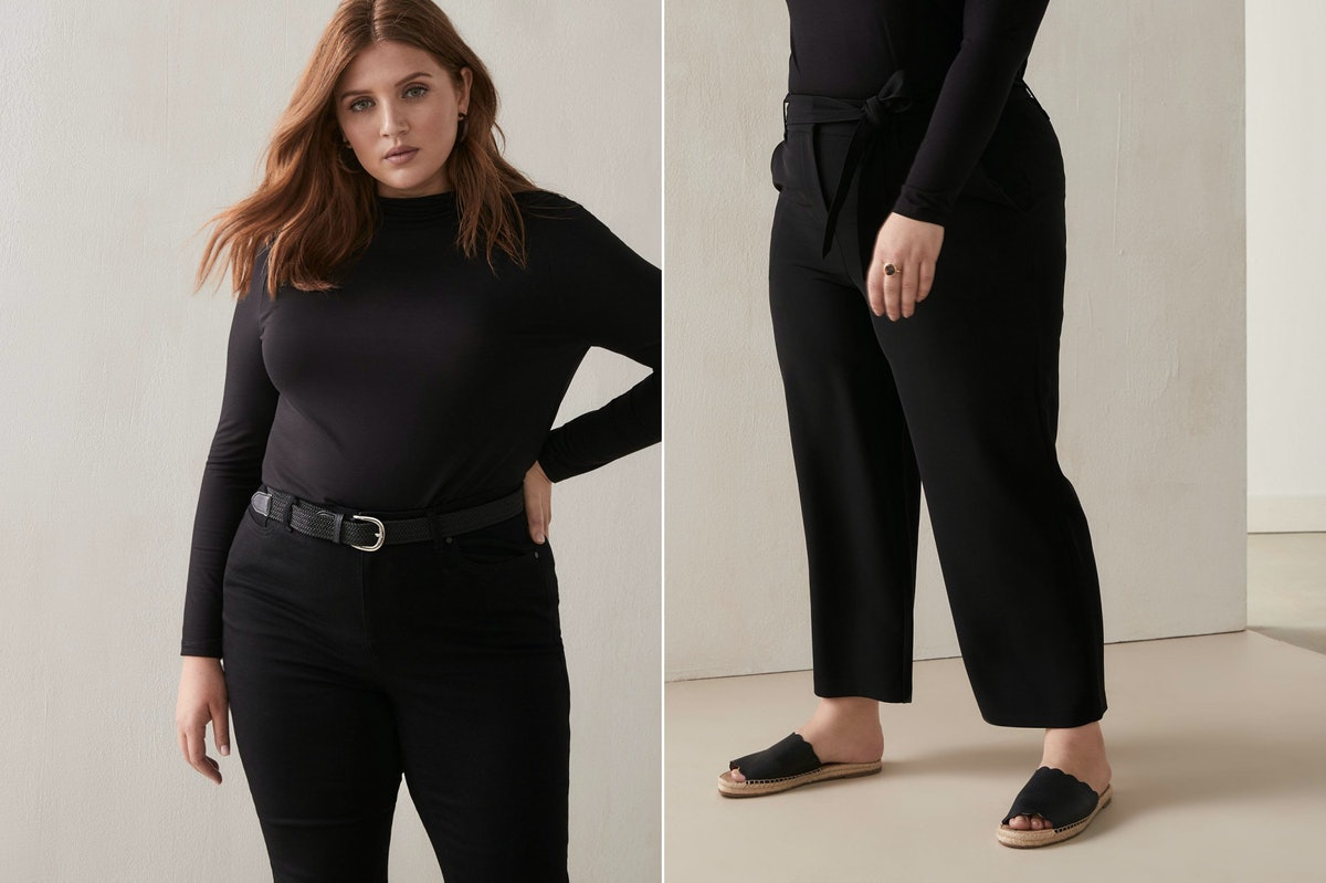 These black pants and shirt make a great comfy plane outfit for fall.
