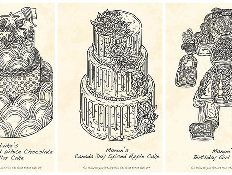 "Tom Hovey is selling prints of his illustrations from ""Great British Bake Off."""