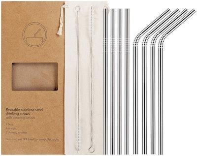 YIHONG Reusable Stainless Steel Metal Straws (Set of 8)
