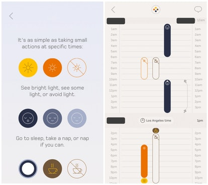 Screenshot of an individual plan from the Timeshifter jet lag app.