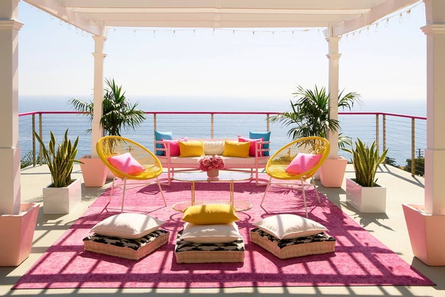 """Relax on the open-air """"meditation terrace"""" of Barbie's Malibu Dreamhouse on Airbnb."""