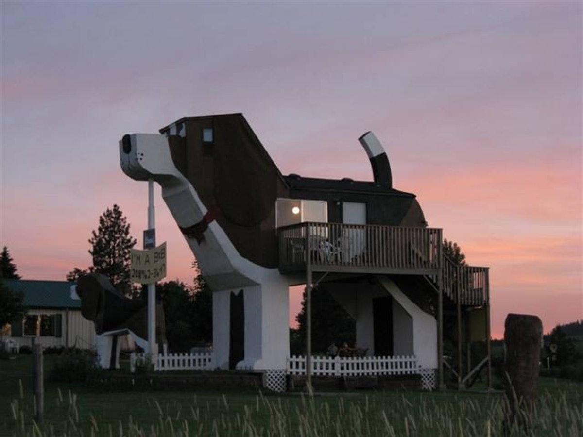 The sun sets behind a beagle-shaped building — the Dog Bark Park Inn B&B — that's listed on Airbnb.