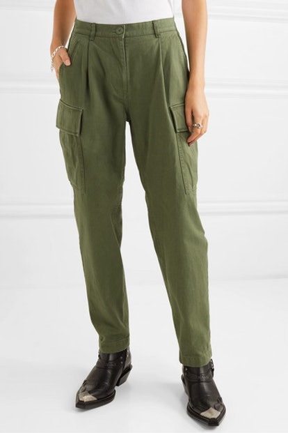 Cotton-Canvas Tapered Cargo Pants