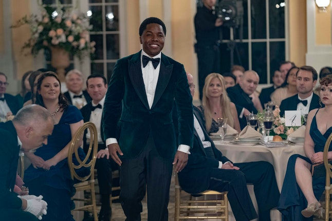 Denny Love as The Colonel In Looking For Alaska wearing a tux at an event