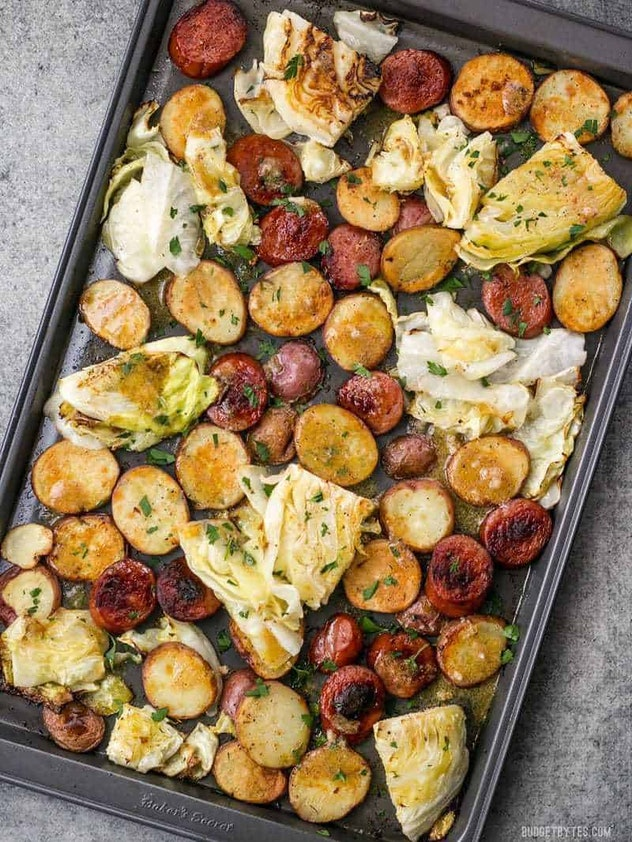sheet pan recipes with pork, One Pan Roasted Kielbasa And Cabbage Dinner