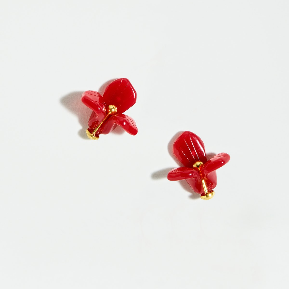 "Lele Sadoughi x J. Crew Trillium Button Studs in ""Raspberry"""