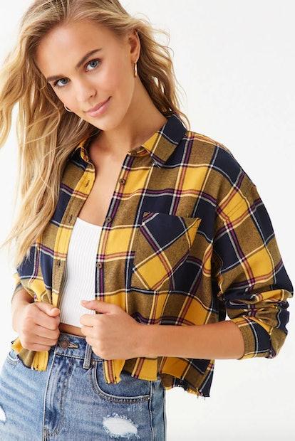 Frayed Flannel Plaid Shirt