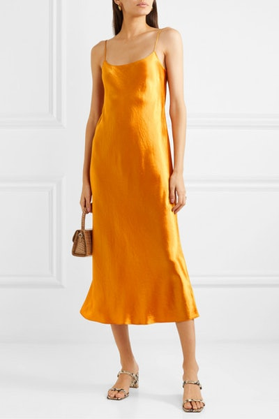 Hammered-Satin Midi Dress
