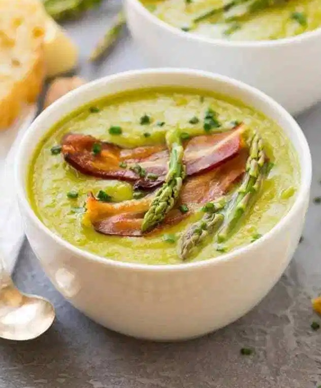 This cream of asparagus soup from Well Plated by Erin is a fast, easy meal ready in 30 minutes