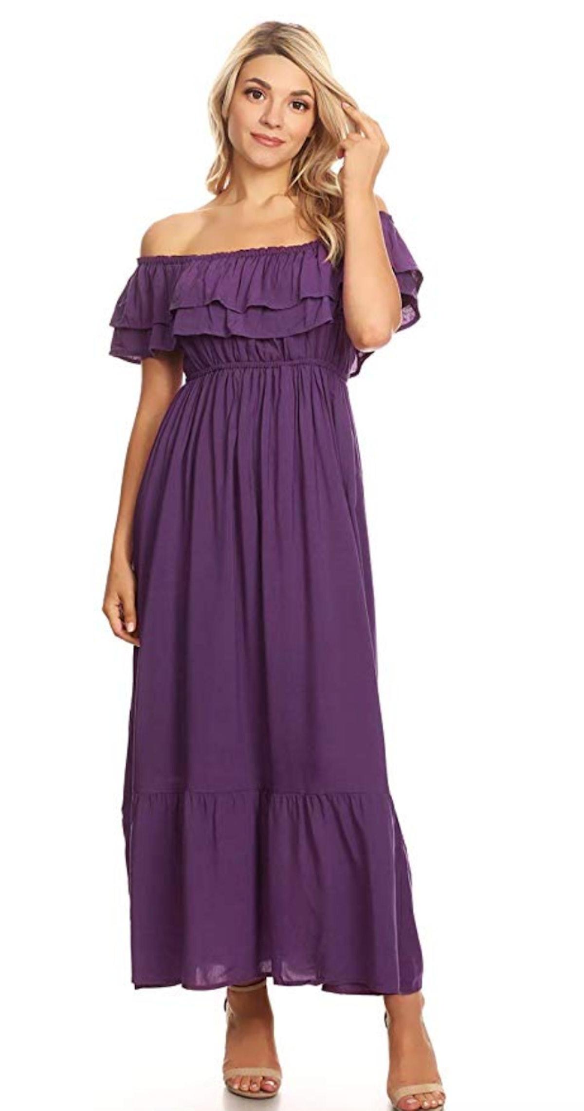 Anna-Kaci Womens Boho Peasant Ruffle Stretchy Short Sleeve Long Dress