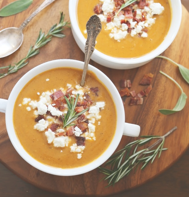 The Creamy Potato Soup With Bacon and Goat Cheese recipe from The Comfort of Cooking is a quick and delicious dinner recipe