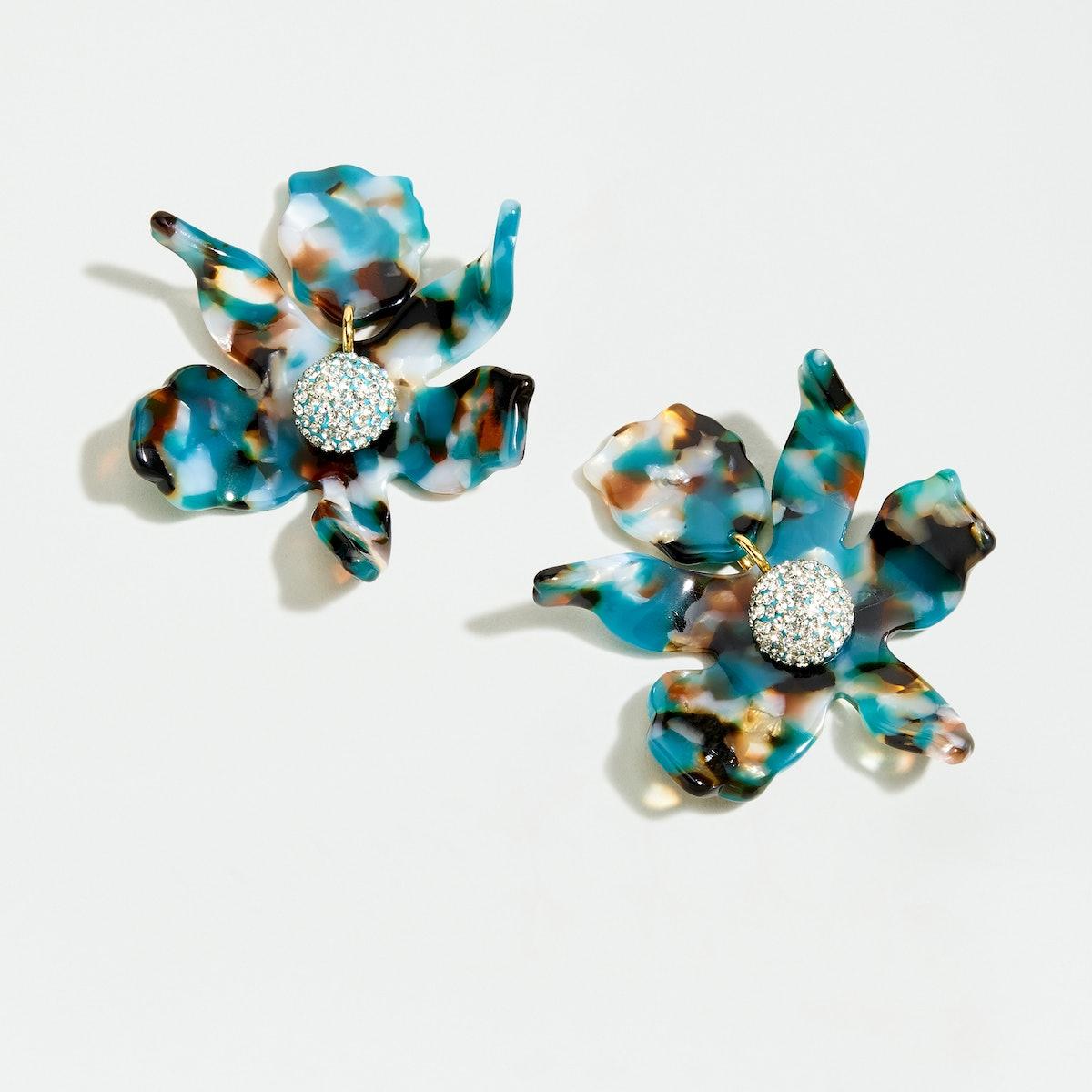 "Lele Sadoughi x J. Crew Small Crystal Lily Earrings in ""Ocean Tort"""