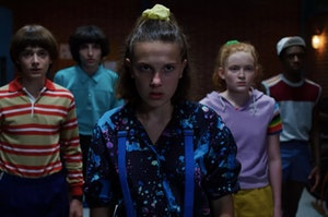 Eleven, Max, Mike, and Will in Stranger Things.