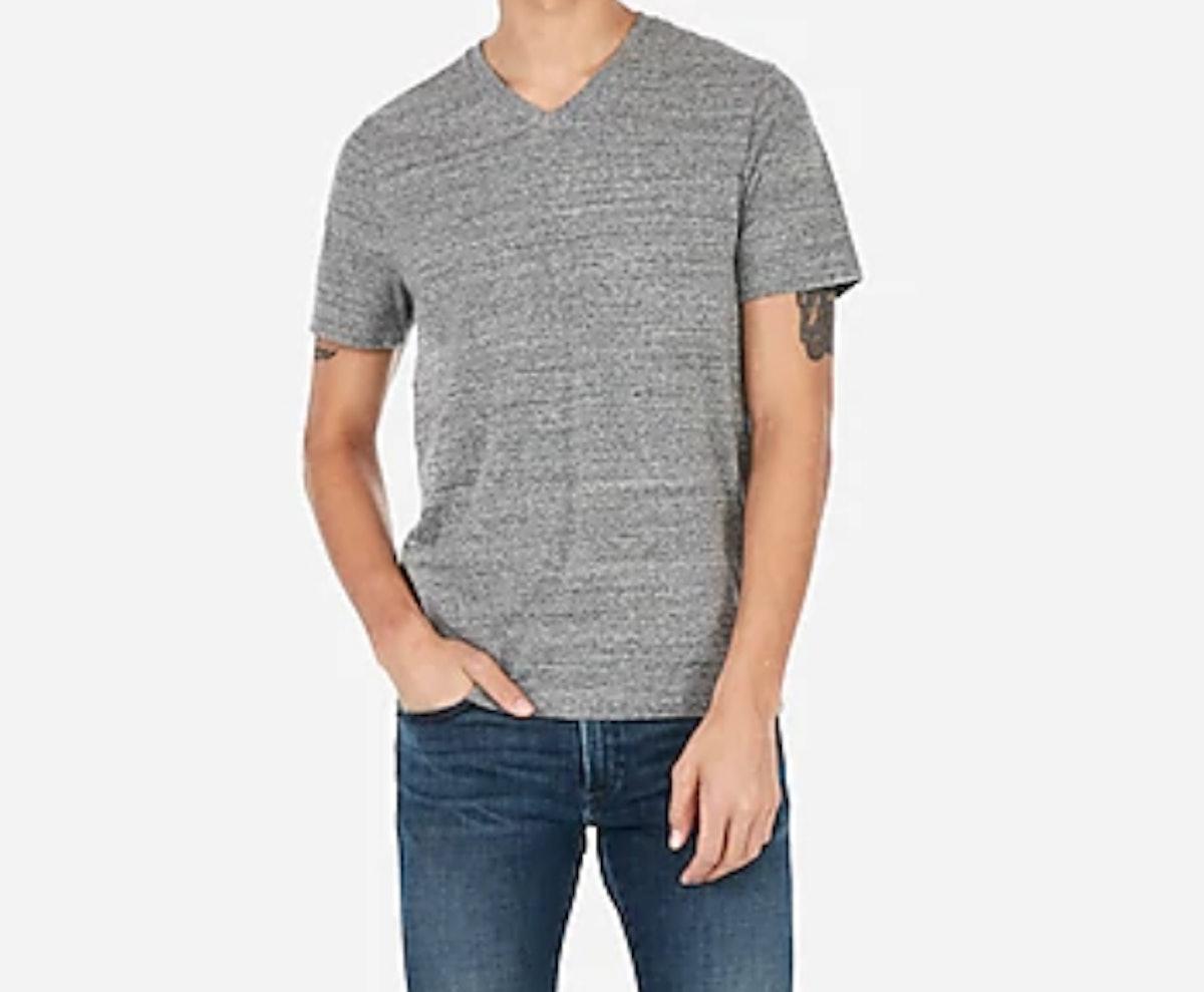Short Sleeve Heathered V-Neck T-Shirt