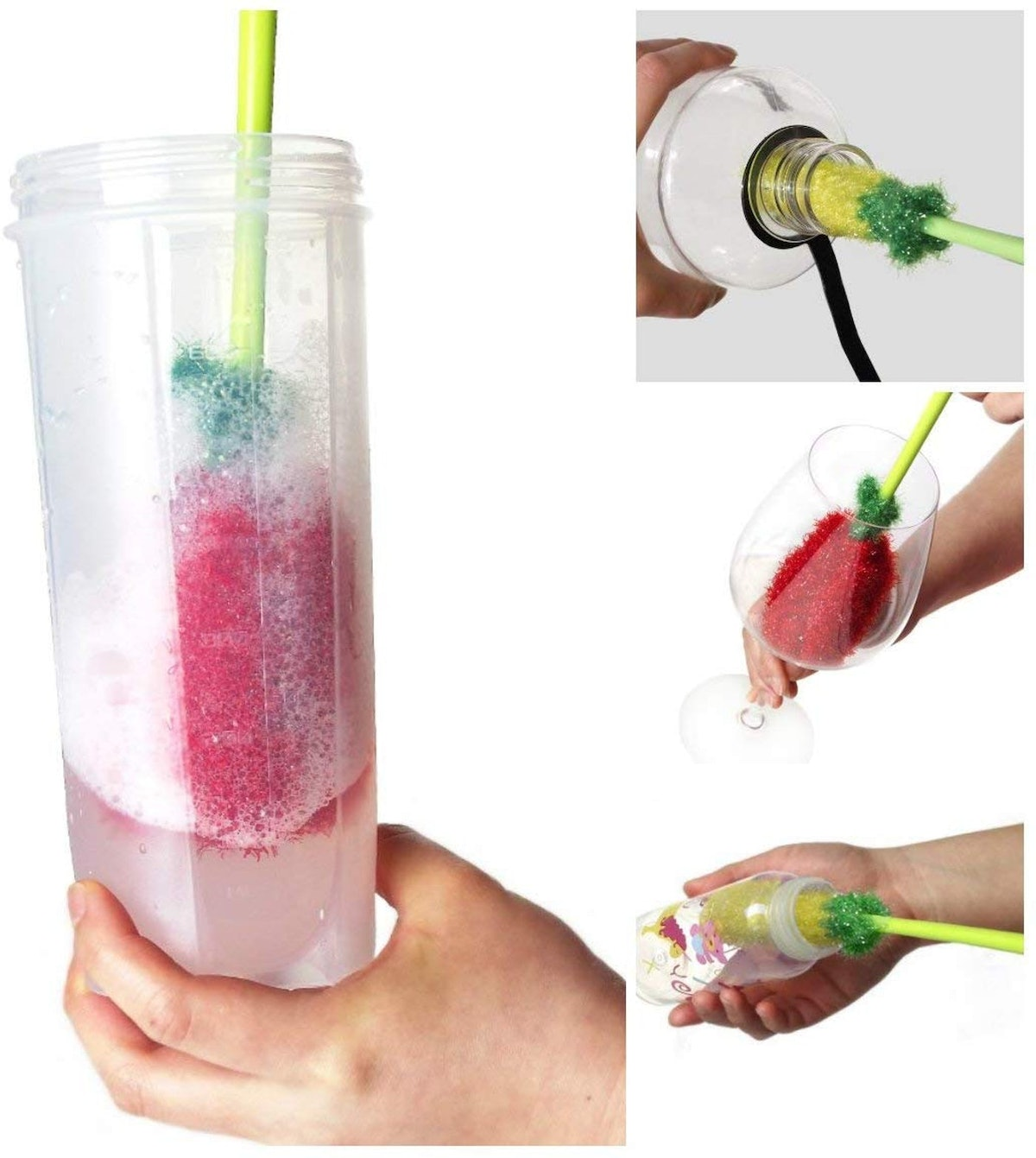 Dish Scrubbie Long Bottle Brush Cleaners (Set of 4)