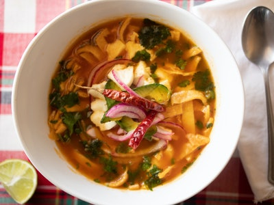 Chicken Tortilla Soup in white bowl