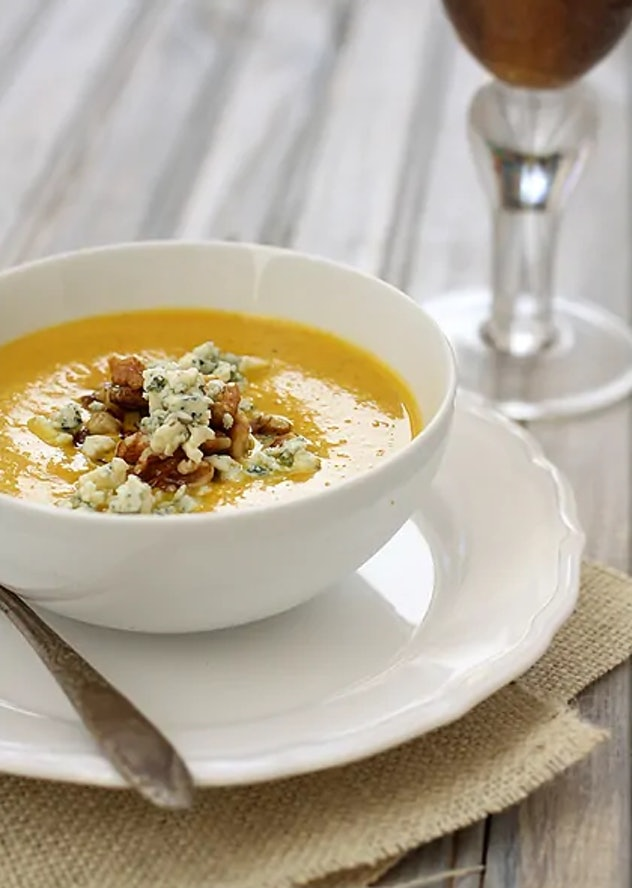 This Pumpkin Soup With Toasted Walnuts recipe from Good Life Eats is a quick and simple appetizer or light meal