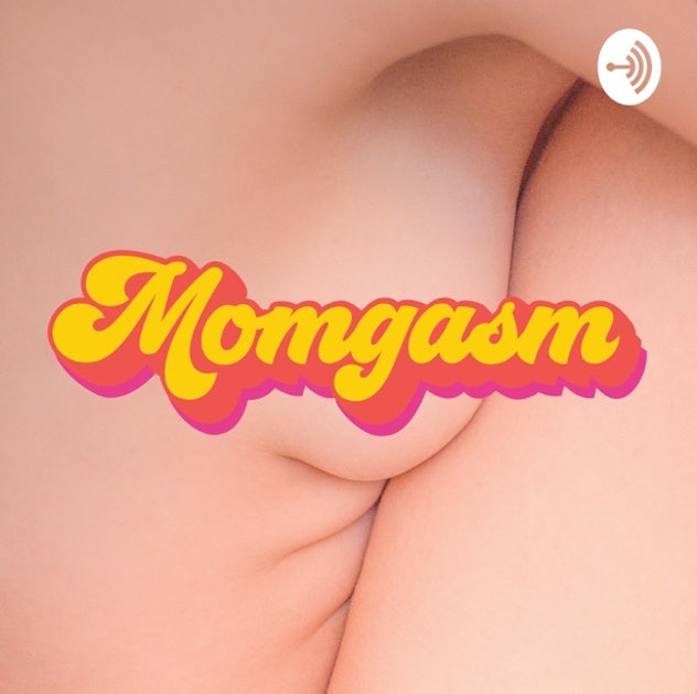 """Two Caucasian bodies embrace. The word """"Momgasm"""" is in type over their midsections."""