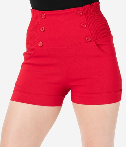Retro Style Red High Waist Stretch Sailor Shorts