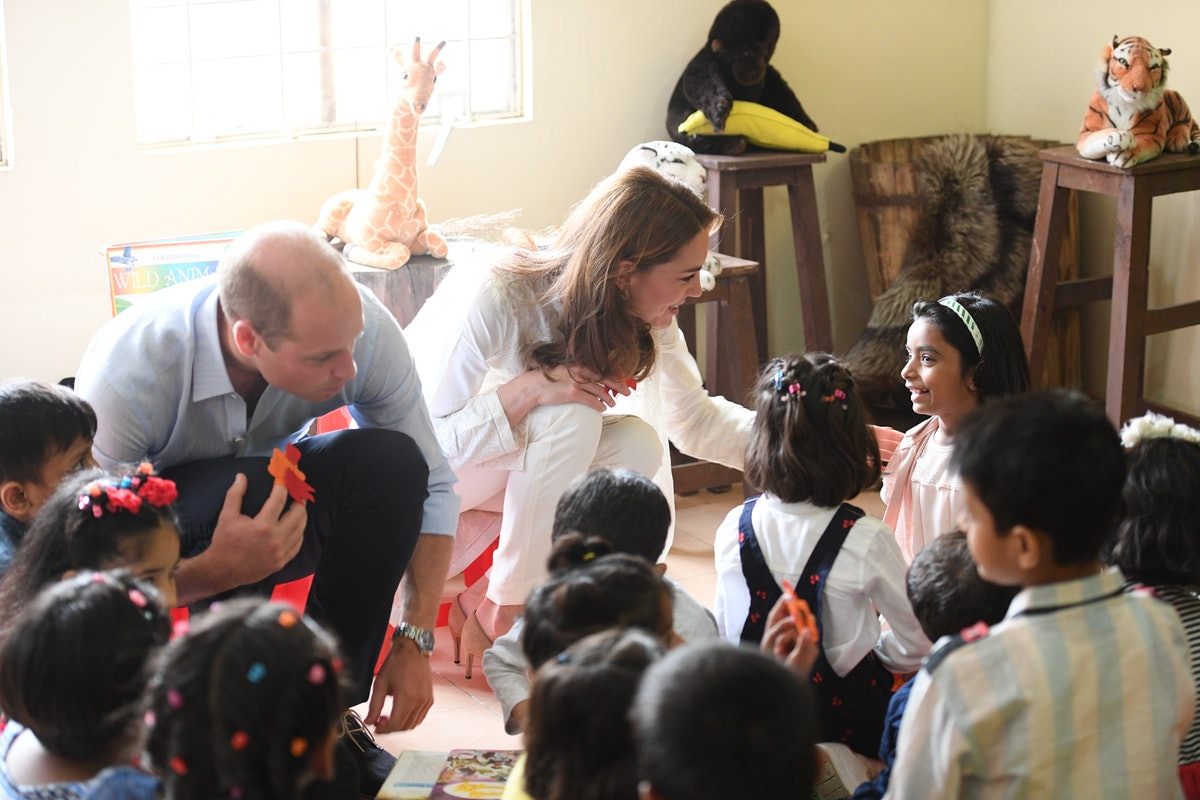 Prince William and Kate Middleton attend a children's birthday party in Pakistan.