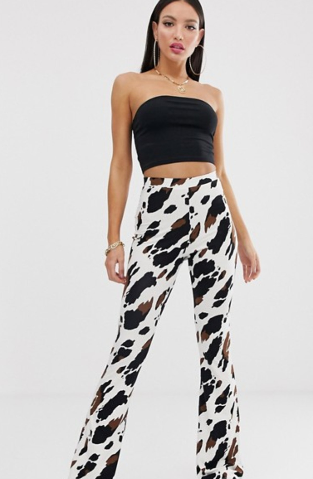 Asos Design Tall Flare Pants in Cow Print