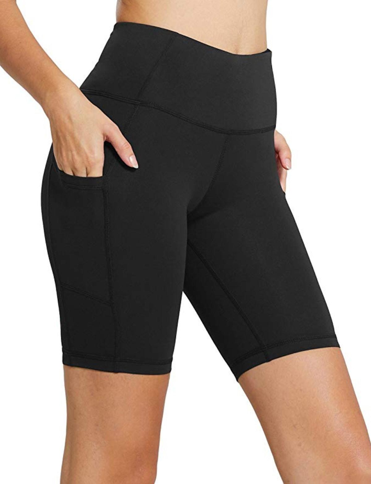 "BALEAF Women's 8"" /5"" /2"" High Waist Workout Yoga Running Compression Shorts Tummy Control Side Pock..."