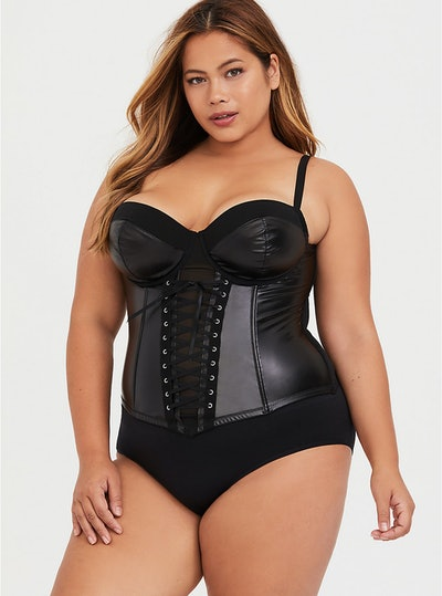 Black Lace-Up Faux Leather Corset Bustier