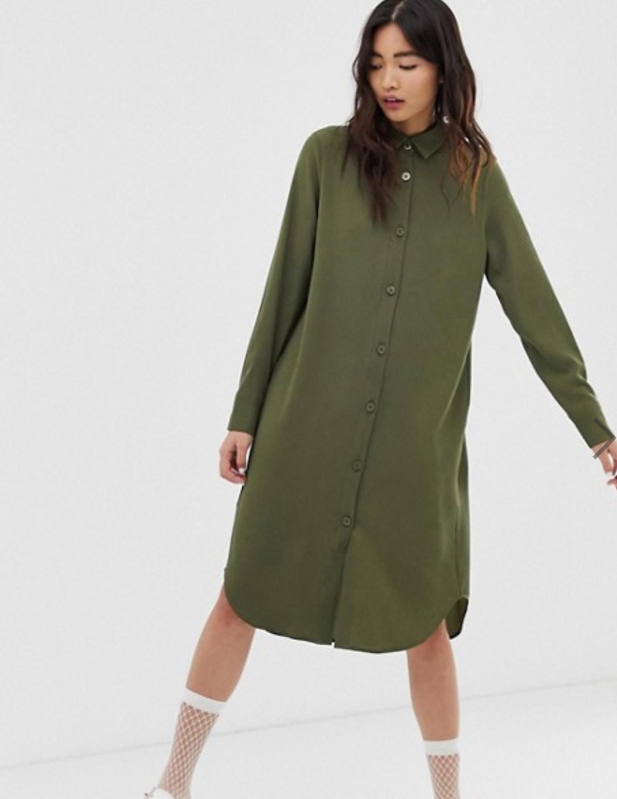 Monki Midi Shirt Dress in Khaki