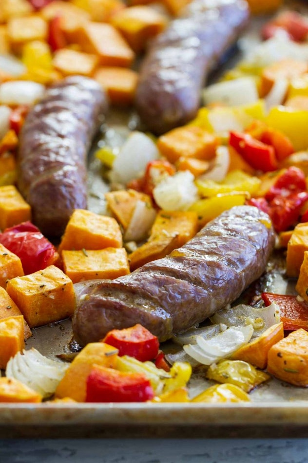 sheet pan recipes with pork,  Sweet Pan Sausage And Peppers With Sweet Potatoes