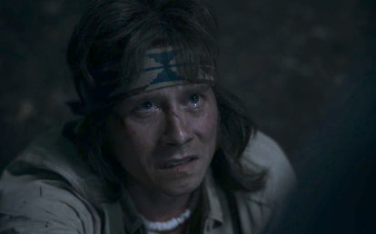 Jonas, played by Lou Taylor Pucci, meets a bloody end on AHS: 1984