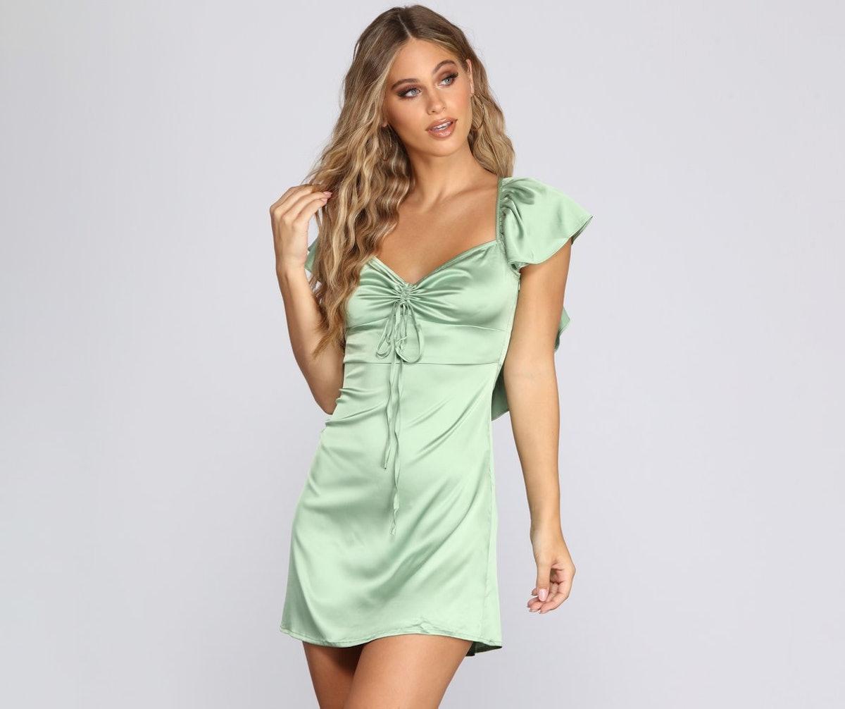 Sweetheart In Satin Mini Dress
