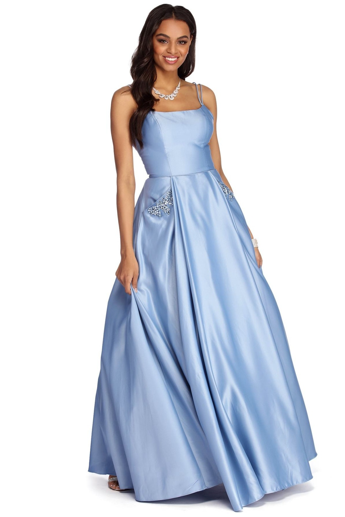Cindy Embellished Satin Ball Gown