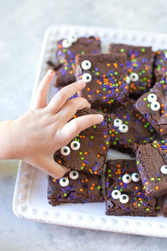 These Halloween brownies are easy to make and feature edible candy eyes.