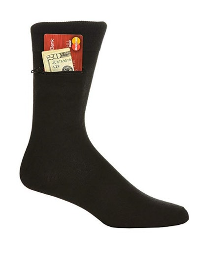 Pocket Socks by Zip It Gear Dress Socks (3 Pairs)