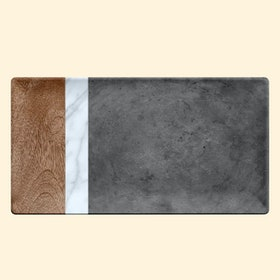 Life Happens Melamine Faux Mixed Material Marin, Carrara & Stone Plank Platter