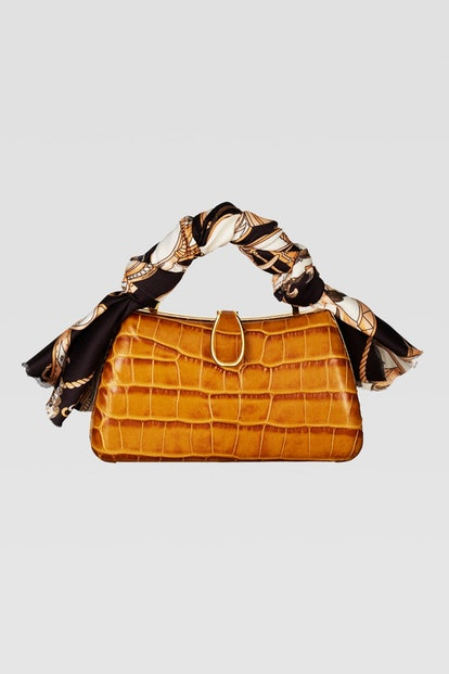 Animal Embossed Mini Crossbody Bag With Scarf Detail