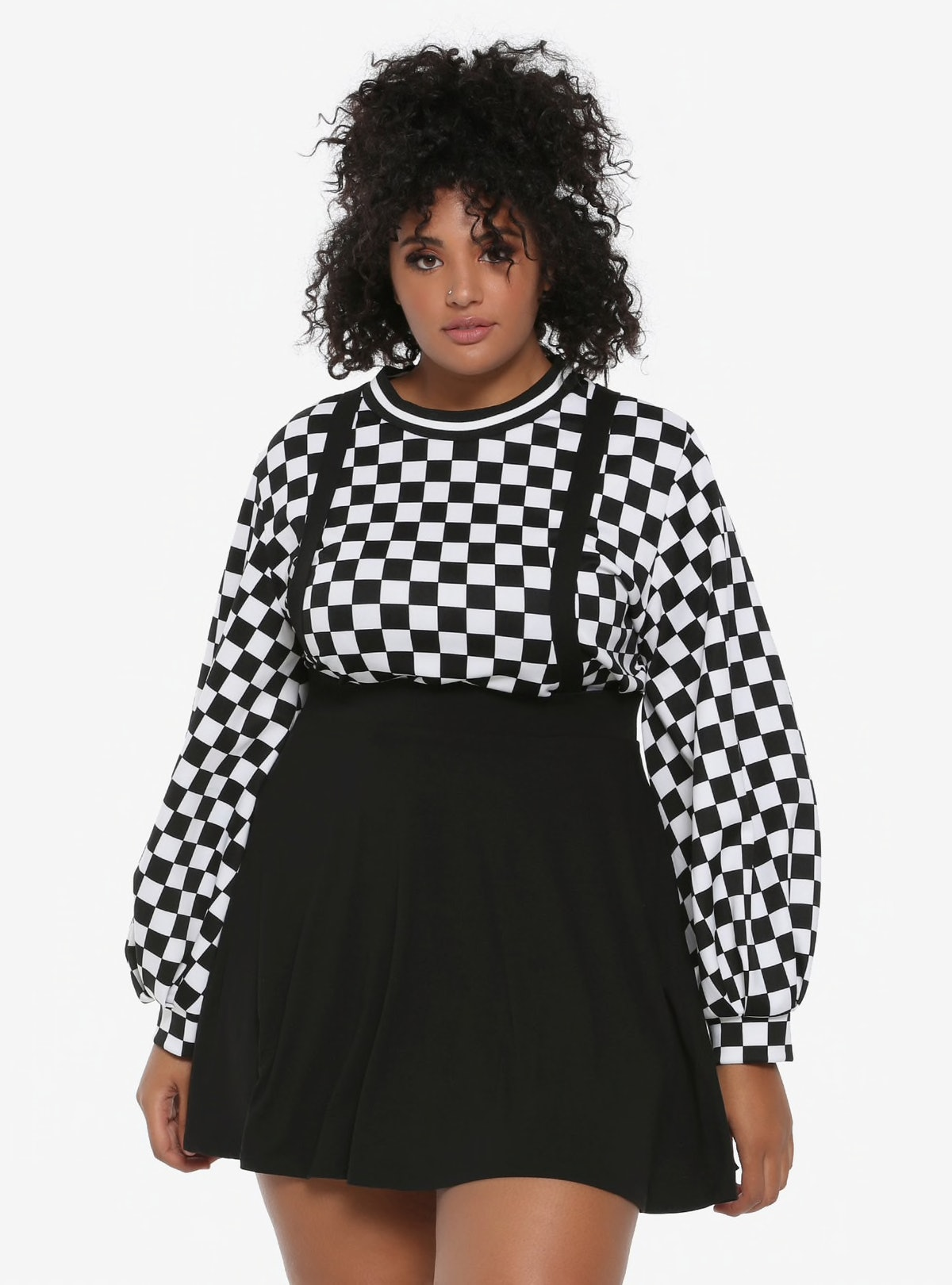 Black Suspender Circle Skirt Plus Size