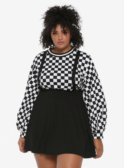 Black Suspender Circle Skirt Plus Size