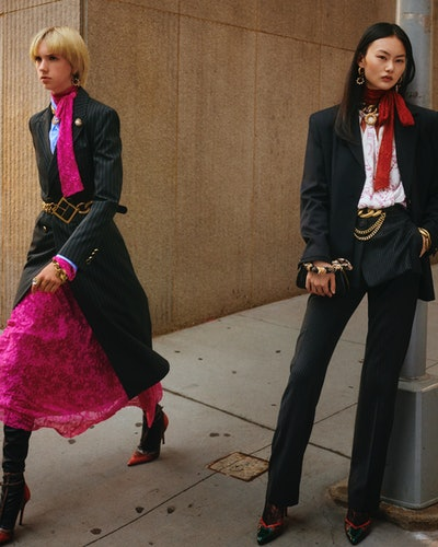 Zara's Campaign Collection features a cool suit and a bright pink dress