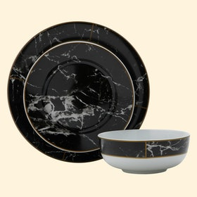 MoDRN Glam Mason 12 Piece Dinnerware Set, Black