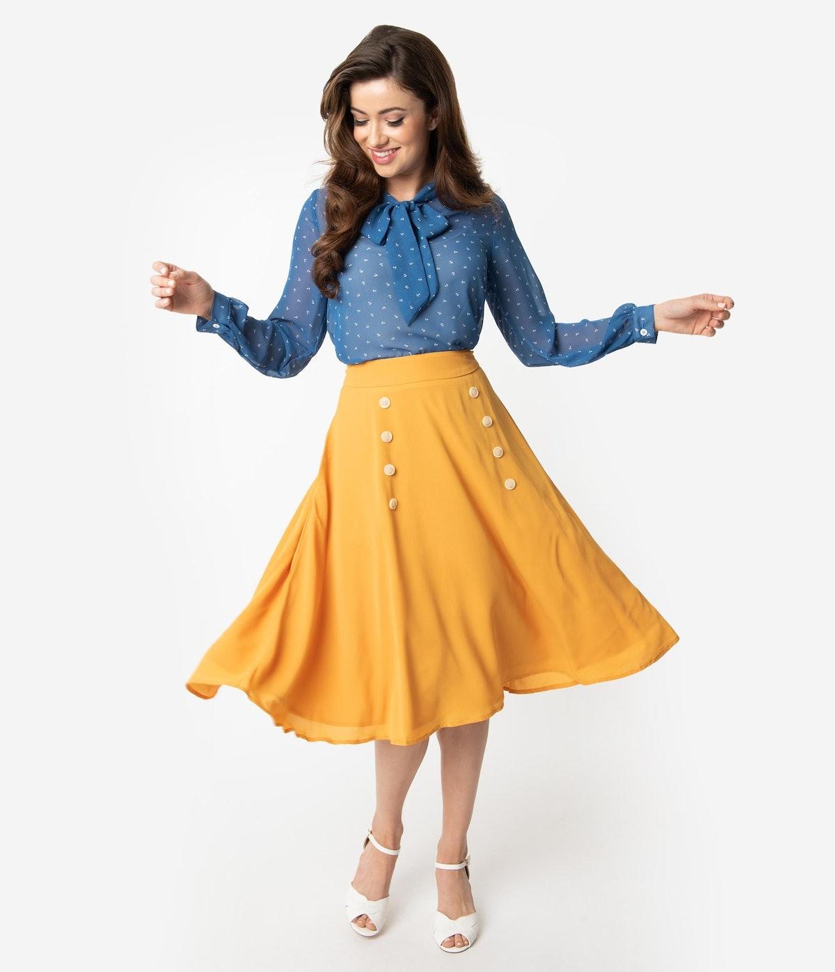 1950s Style Mustard Yellow Crepe Cute As A Button High Waist Swing Skirt