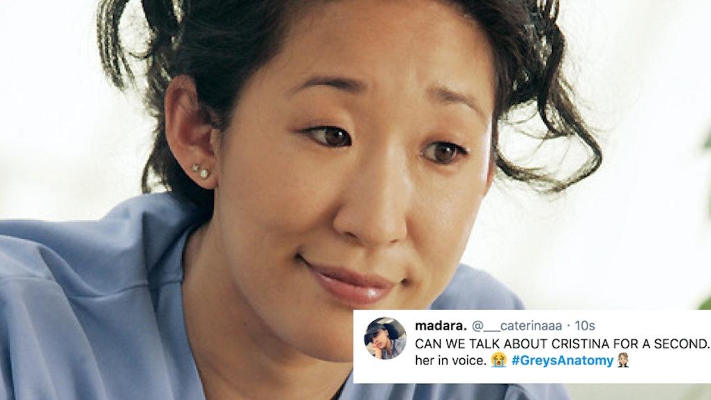 Cristina Yang Grey's Anatomy with tweet
