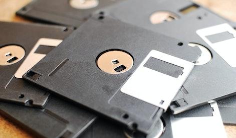Pile of floppy disks.